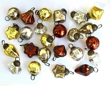 "1"" Antique Mini Glass Ornament Assortment"