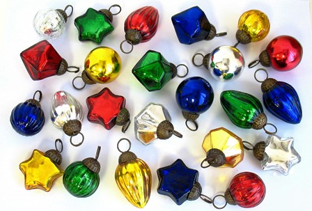 "1"" Holiday I Mini Glass Ornament Assortment"