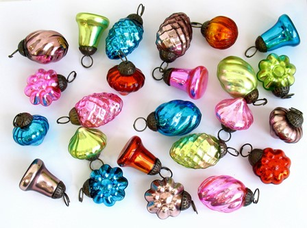 "1"" Pastel II Mini Glass Ornament Assortment"