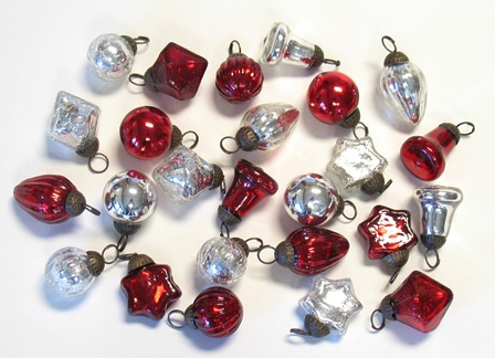 "1"" Red/Silver Glass Ornaments"