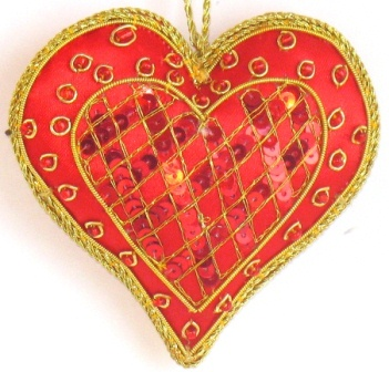"3.25"" Embroidered Heart Ornament"