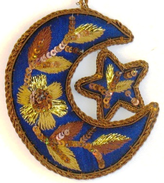 """3.5"""" Embroidered Moon/Star Ornament"""