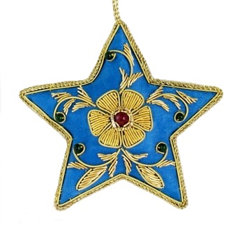 "3.5"" Embroidered Star Ornament"