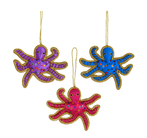 "3.75"" Embroidered Octopus Ornament"