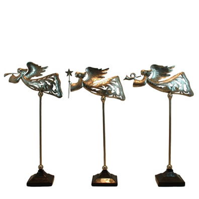 3 Pc. Set Angel Musician Tealight Holders