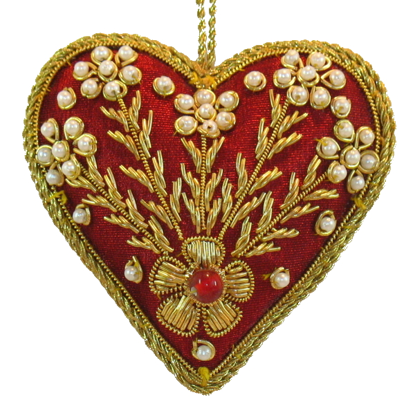 "3.5"" Embroidered Heart Ornament"