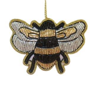 "3"" Embroidered Bee Ornament"