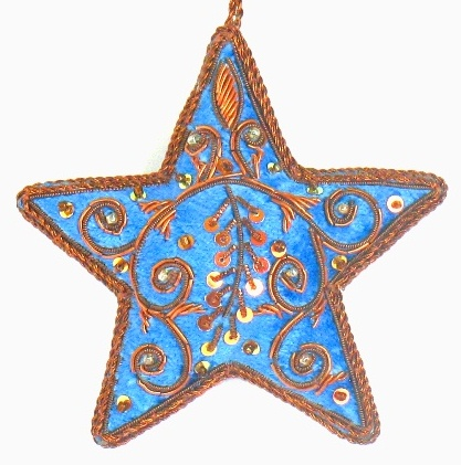 "4"" Embroidered Star Ornament"