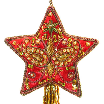 """3"""" Embroidered Star with Tassel"""