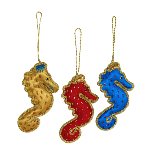 "4.5"" Embroidered Seahorse Ornament"