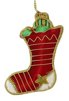 "4.5"" Embroidered Stocking Ornament"