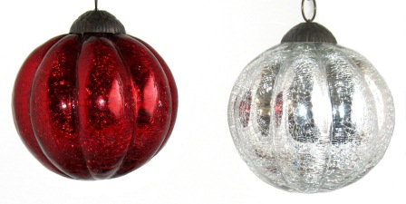 "4"" Crackle Ball Melon Ornament"