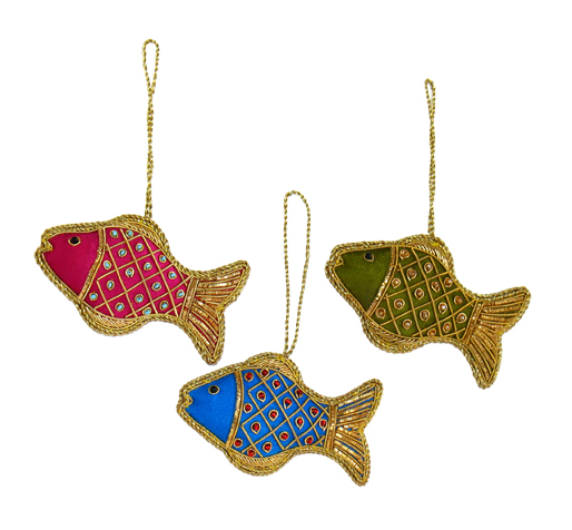 "4"" Embroidered Fish Ornament"