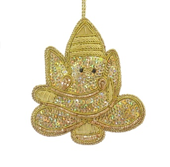 "4"" Gold Ganesha Ornament"