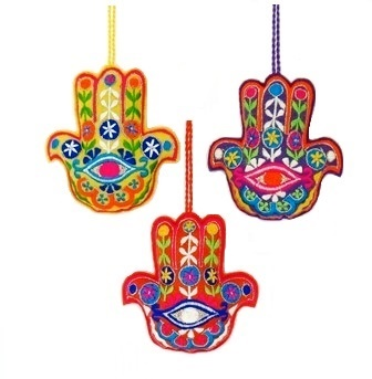 "4"" Embroidered Hamsa Eye Ornament"