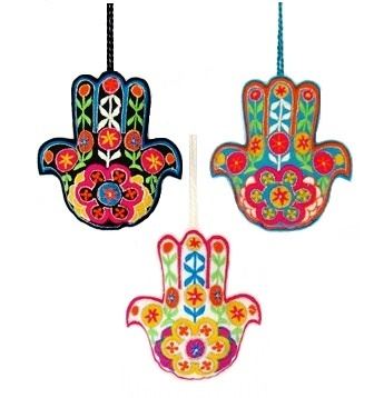 "4"" Embroidered Hamsa Flower Ornament"