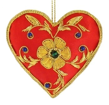 "4"" Embroidered Heart Ornament"