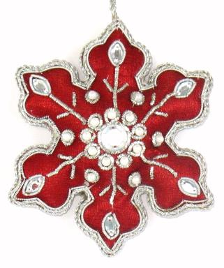 "4"" Embroidered Snowflake Ornament"