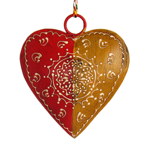 "4"" Painted Metal Heart Ornament"