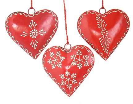 "4"" Red Painted Heart Ornament"