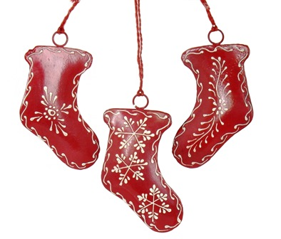 "4"" Red Painted Stocking Ornament"