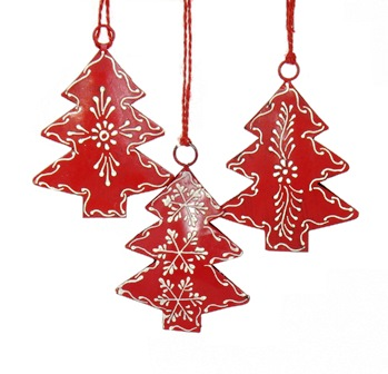 "4"" Red Painted Tree Ornament"