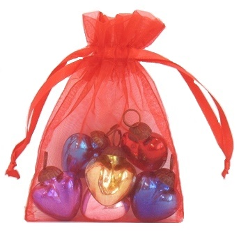 6 Mini Glass Hearts in a Bag Set