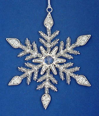 "6"" Silver Beaded Snowflake"