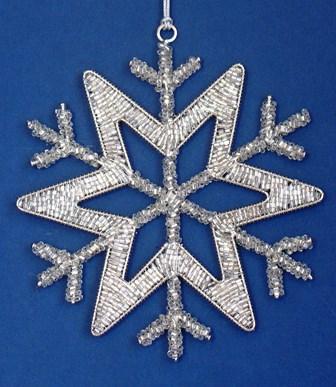 "6"" Silver Beaded Snowflake"