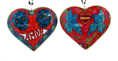 Amor Skulls Heart Ornament