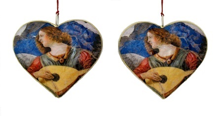 Angel with Lute Heart Ornament