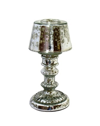 Antique Silver Tealight w/ Shade