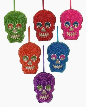"4"" Embroidered Beaded Skull Ornament"