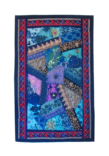 Blue Pieced Sari Runner