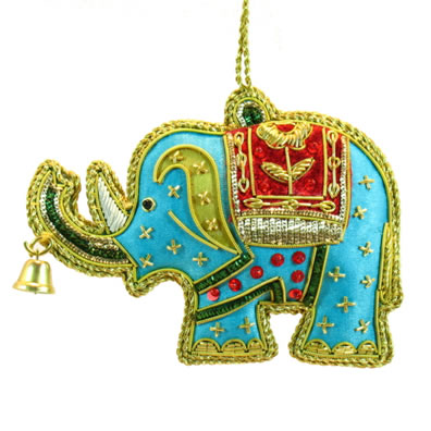 "4"" Blue Elephant with Bell Ornament"