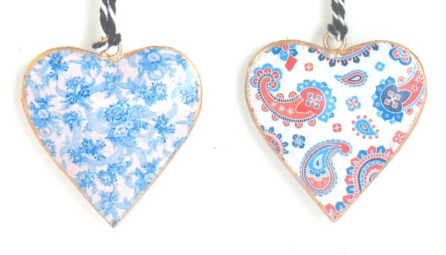 Blue Floral Heart Ornament