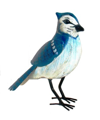 Blue Jay Painted Metal Bird