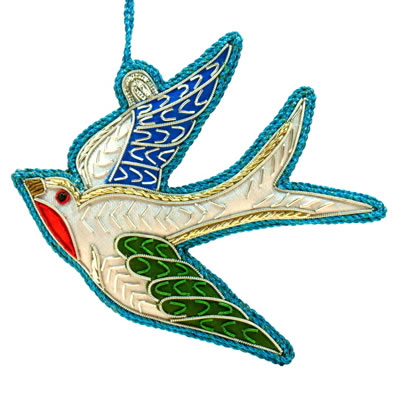 "4"" Embroidered Bluebird Ornament"