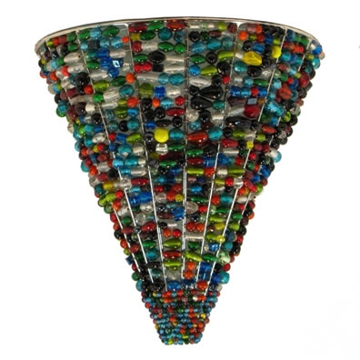 Cone Wall Sconce, Multi-Color Glass Beads.