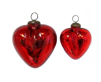 Crackle Red Heart Ornament
