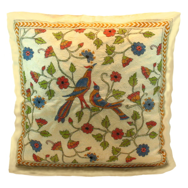 Embroidered Bird/Flower Pillow Cover