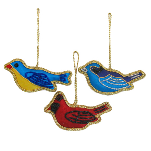 "4"" Embroidered Bird Ornaments"