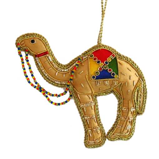 "3.5"" Embroidered Camel Ornament"