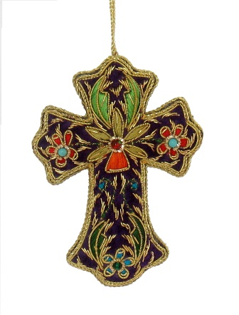 """5"""" Embroidered Cross Ornament"""