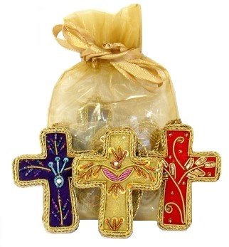 Embroidered Cross Ornament Set