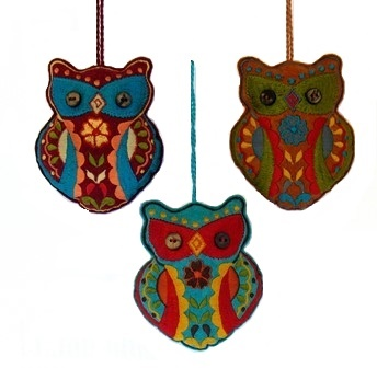 "4"" Embroidered Felt Owl Ornament"