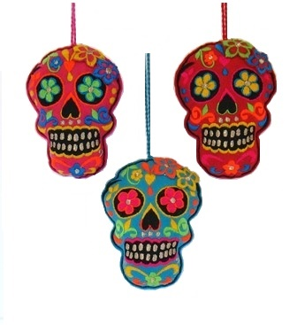 "4"" Embroidered Felt Skull/Flowers Ornament"