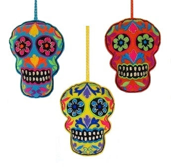 "4"" Embroidered Felt Skull Ornament"