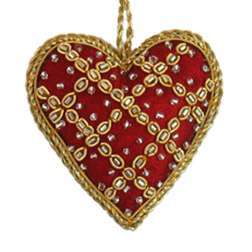 "3"" Embroidered Heart Ornament"