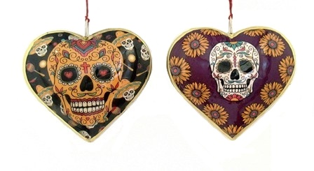 Fiesta Skull Heart Ornament, 4""
